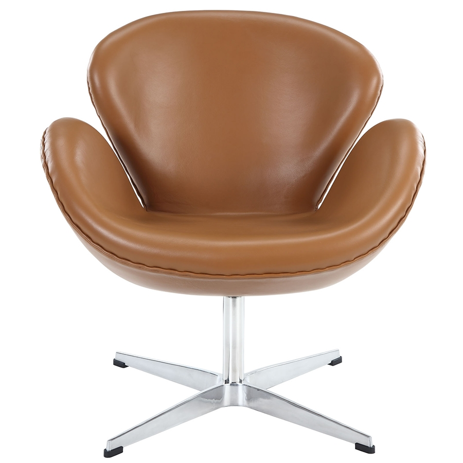 Shell Terracotta Leather Lounge Chair - Front