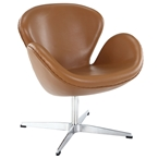 Shell Terracotta Leather Lounge Chair