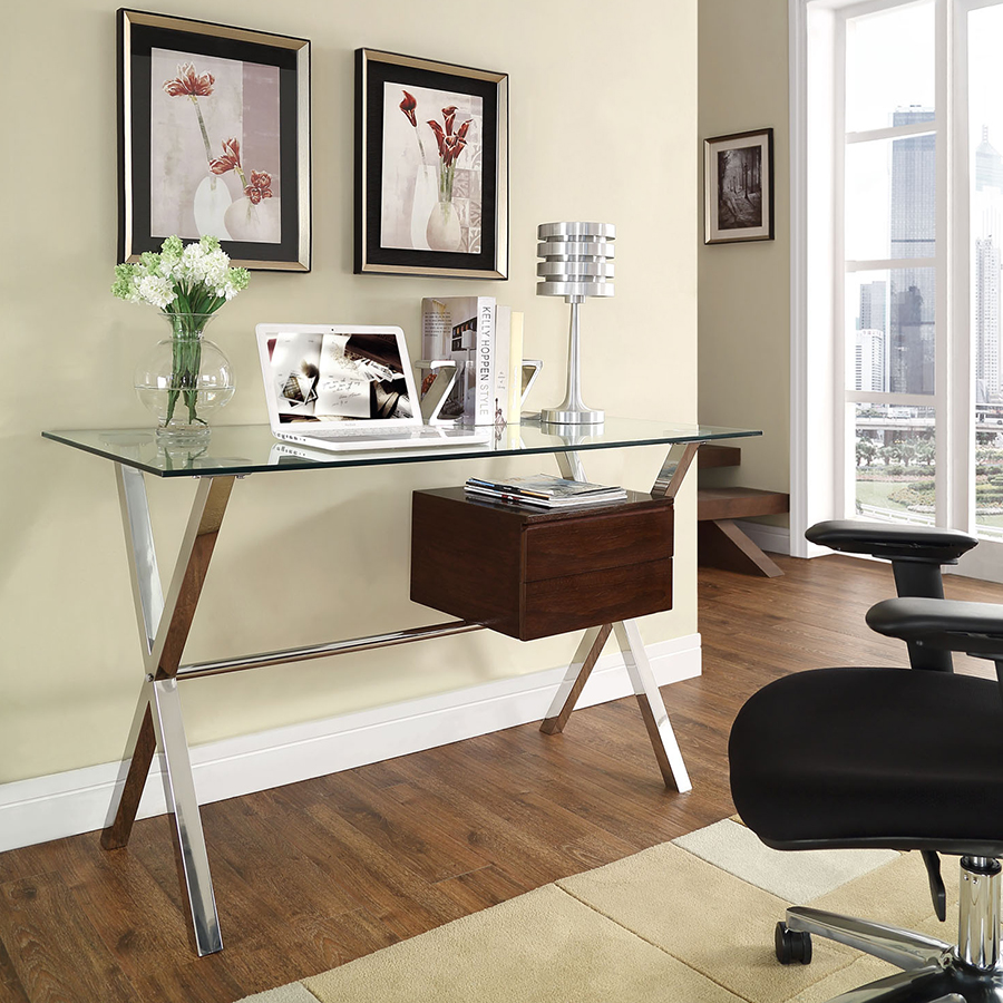 Sherwood Contemporary Desk with Walnut Drawers