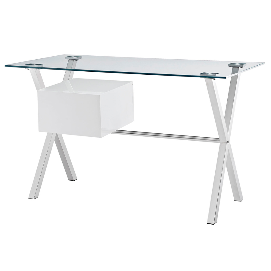 Sherwood Modern Desk with White Drawers - Back View