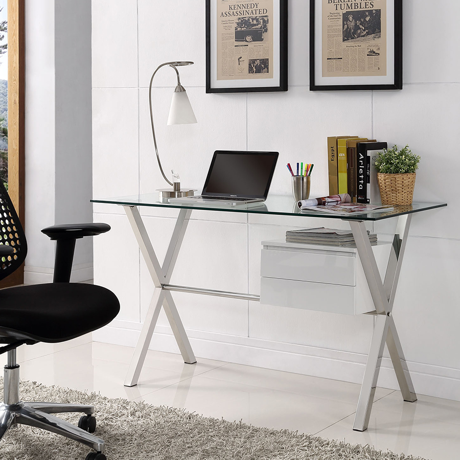 Sherwood Contemporary Desk with White Drawers
