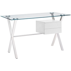 Sherwood Modern Desk with White Drawers