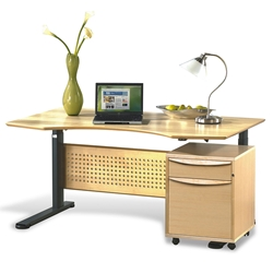 Sit-Stand 63 Inch Adjustable Desk in Maple
