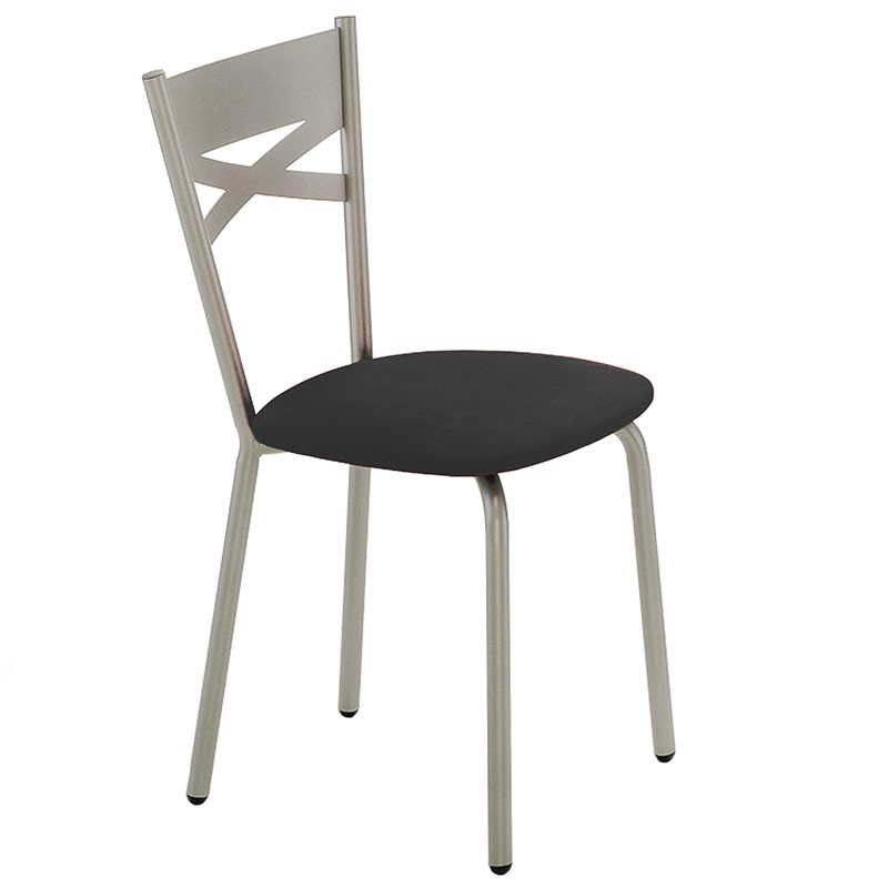 Tommy Dining Chair - Platina Metal w/ Black Vinyl