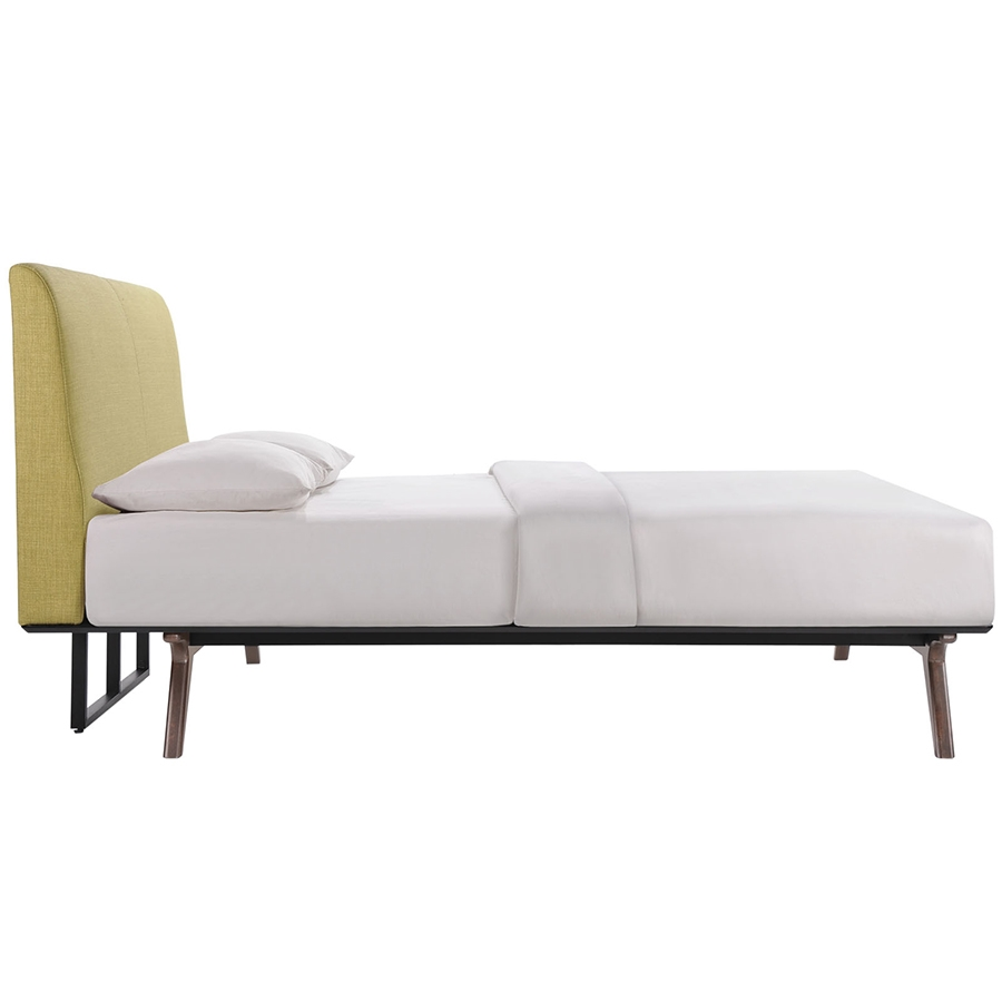 Toronto Green Modern Queen Bed - Side View