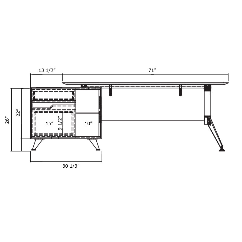 Trondheim Desk with Cabinet - Diagram