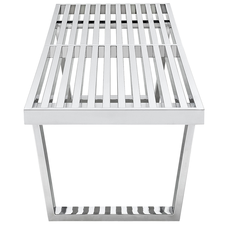 vector 48 inch modern stainless steel bench - side view