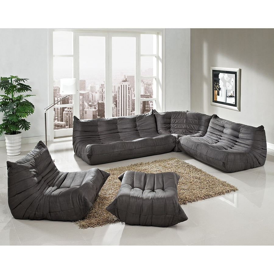 Wave Modern Sectional Set in Gray