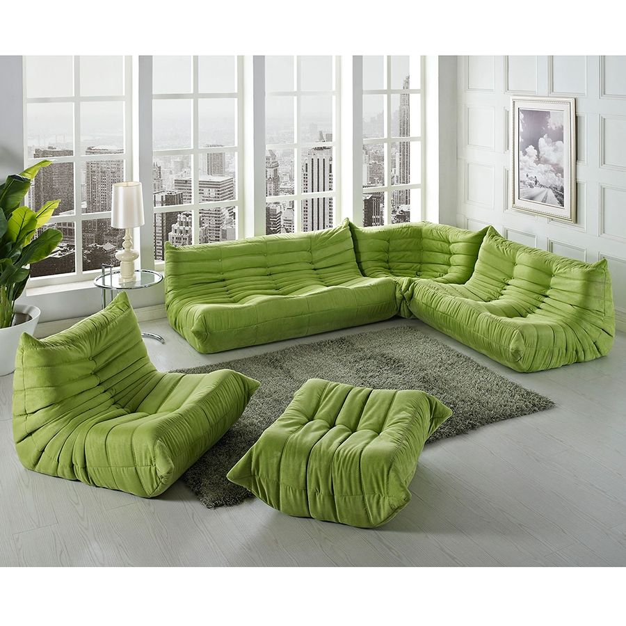 Wave Modern Sectional Set in Green