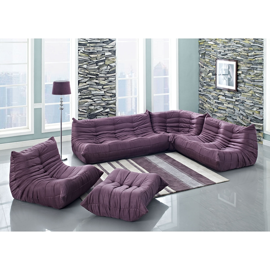 Wave Modern Sectional Set in Purple