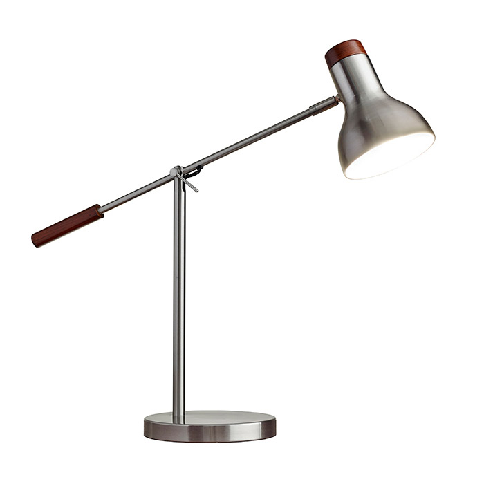 Contemporary Desk Lamps - Wilson Brushed Steel Desk Lamp