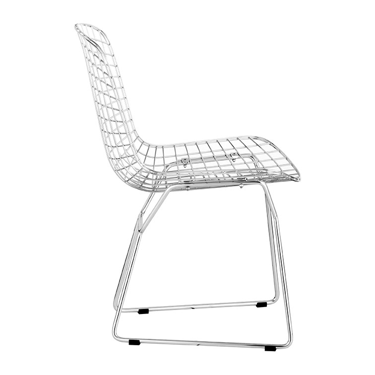 wire dining chair- side