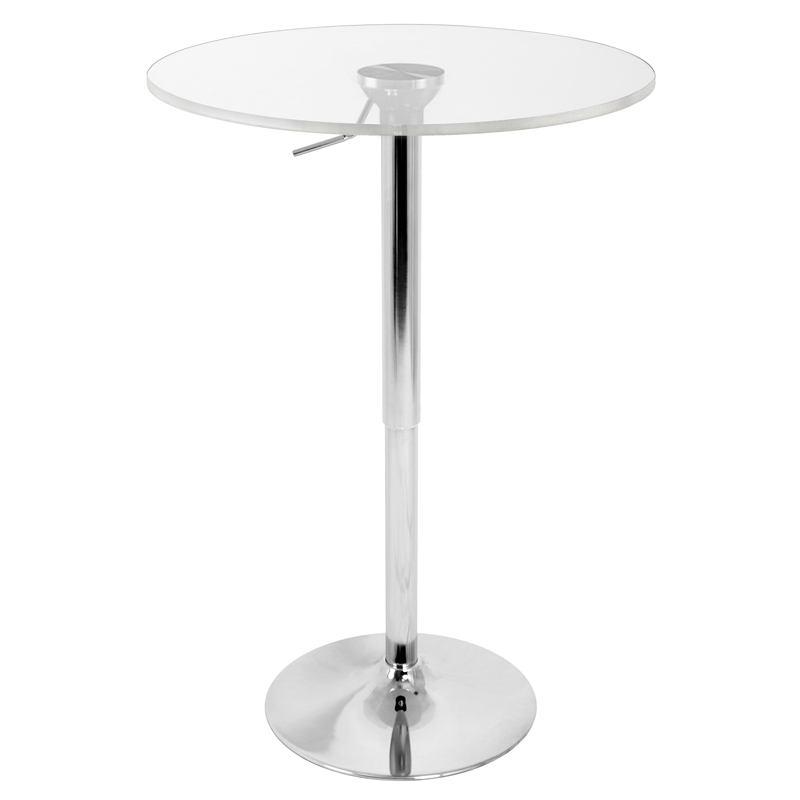 "Arthur 23"" Clear Adjustable Bar Table"