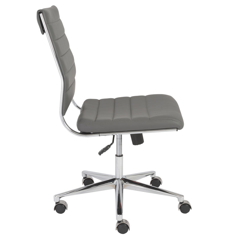 alex armless low back office chair - side view