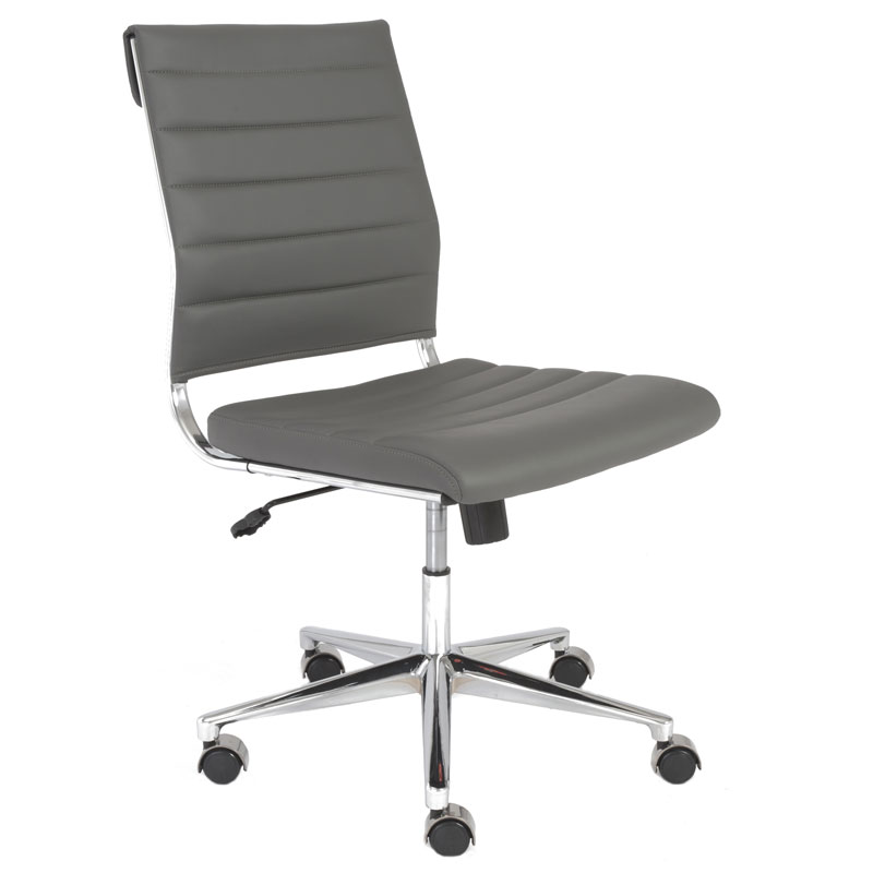 alex armless low back office chair in white