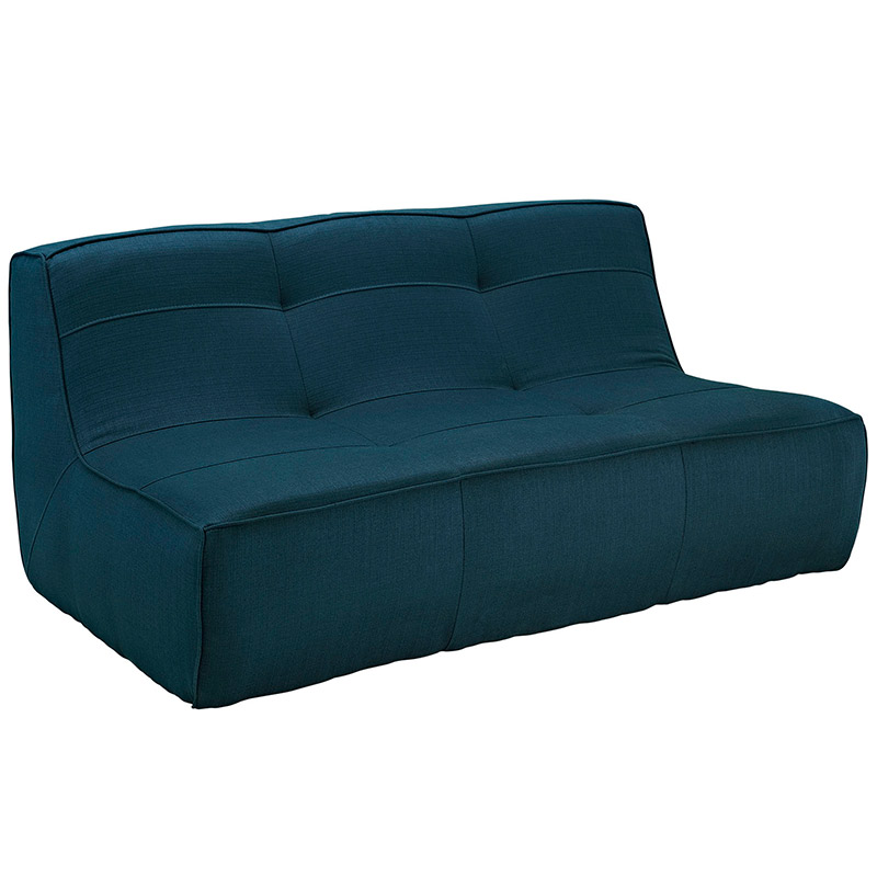 alexa modern loveseat in azure fabric