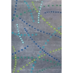 Blue Dotted Lines Contemporary Rug