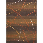 Brown Dotted Lines Contemporary Rug