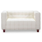 Button Loveseat in White