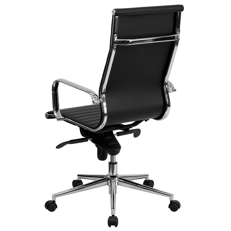 Channel High Back Office Chair in Black - Back View