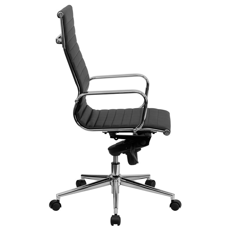 Channel High Back Office Chair in Black - Side View