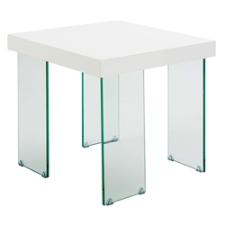 Connor White Modern Glass End Table