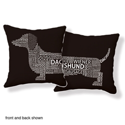 Dachshund Typography Pillow Brown White