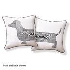 Dachshund Typography Pillow Black White