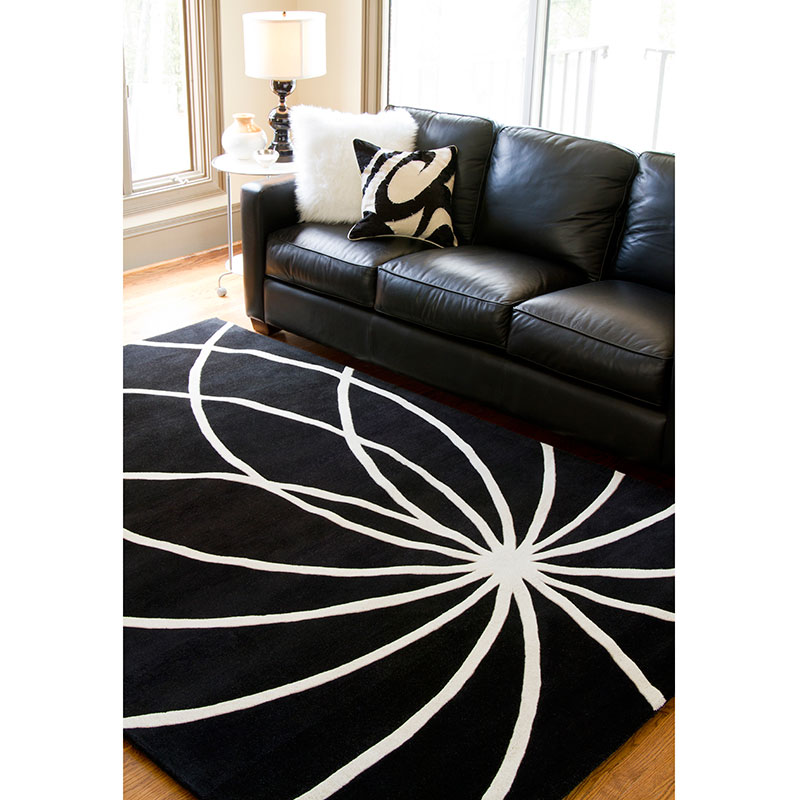 Fulton Rug in Charcoal and Ivory
