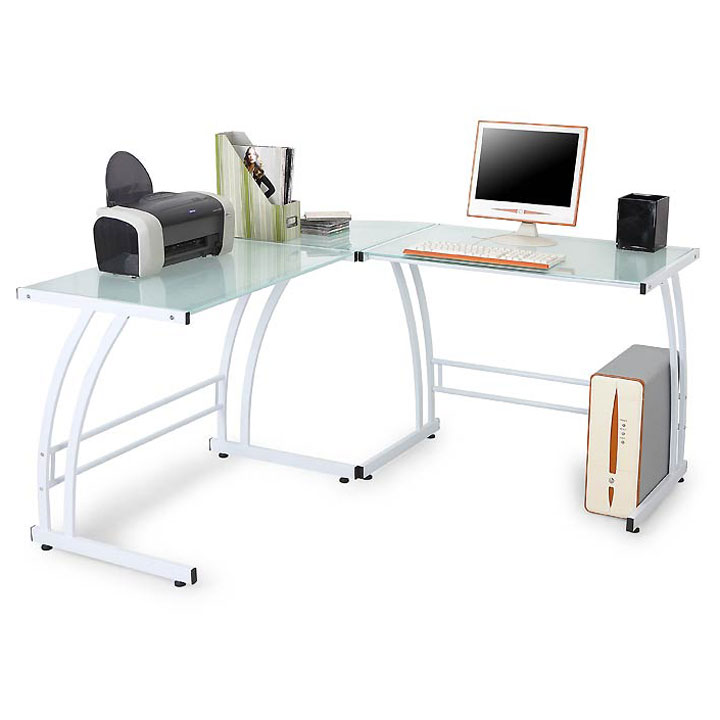 Gary Modern L-Desk in White/Frosted