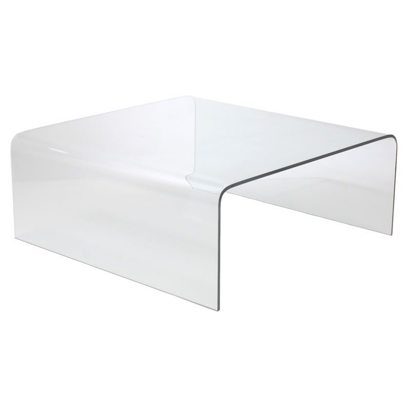 Modern Square Coffee Table With Glass Top: Abbott Modern Square Cocktail Table