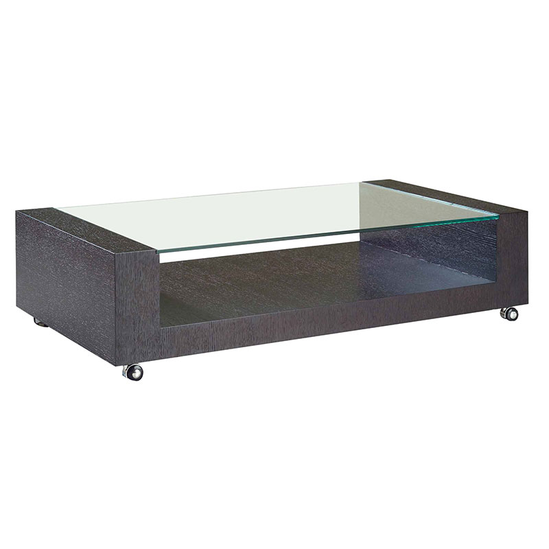 Modern Glass Coffee Table With Wheels: Heathe Cocktail Table
