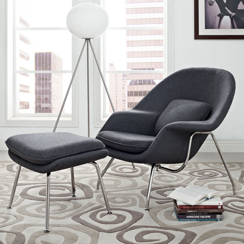 icon chair and ottoman in dark gray