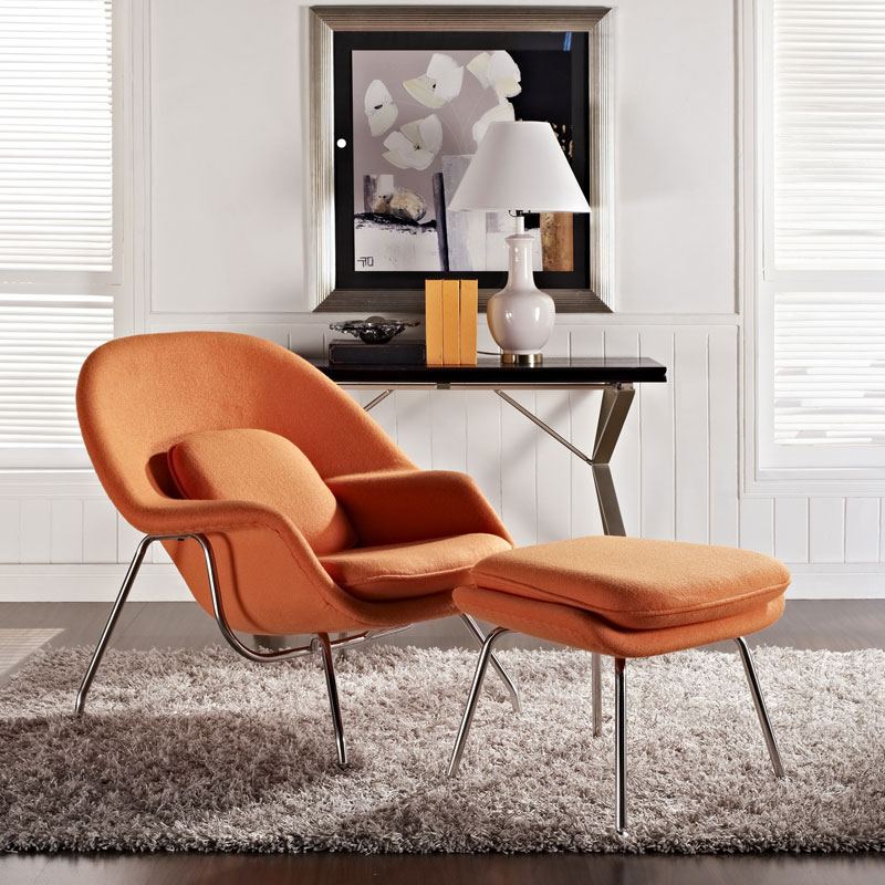icon chair and ottoman in orange