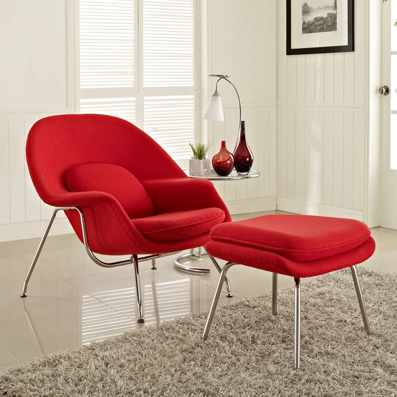 icon chair and ottoman in red