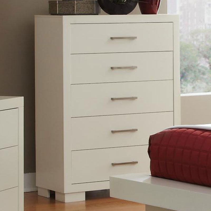 Jess Contemporary Chest in White