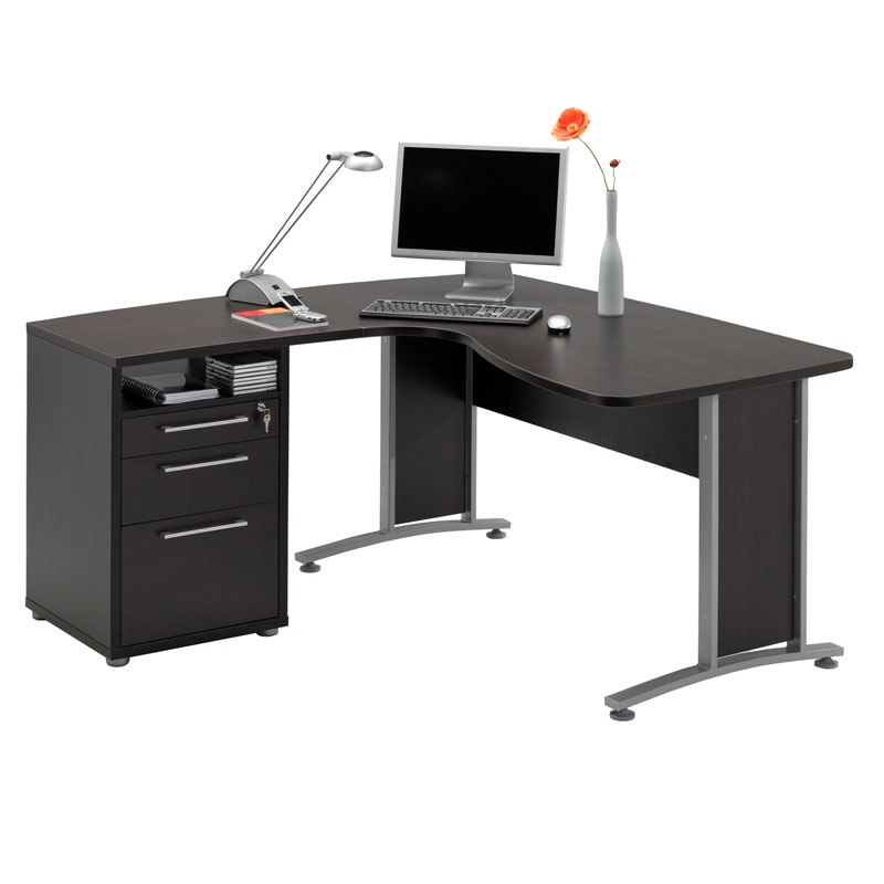 Prague L-Shaped Desk + File | Modern Desks | Eurway