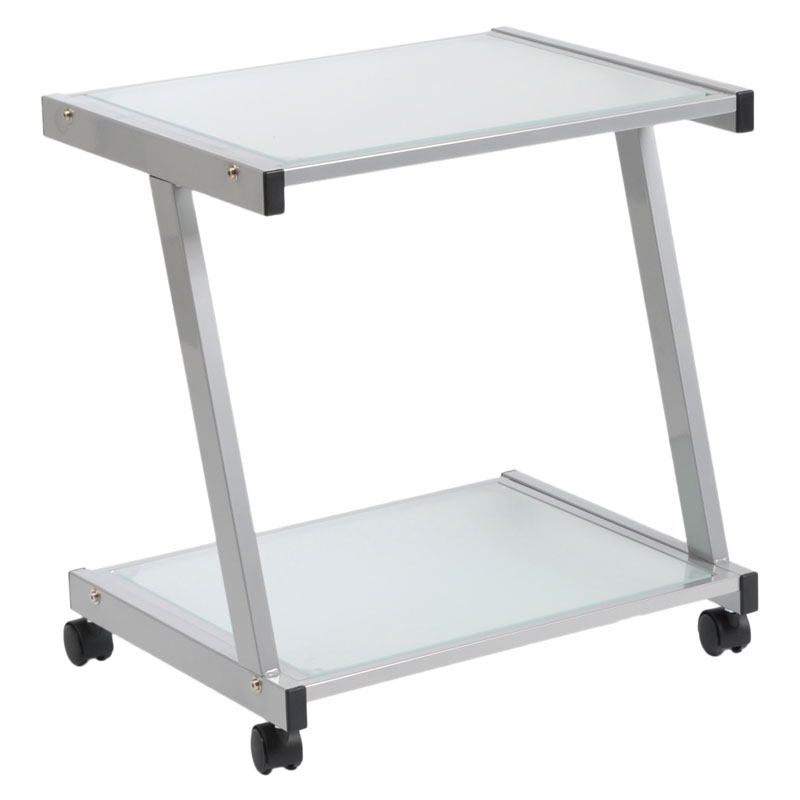 landon printer cart in silver