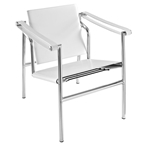 lauren modern leather lounge chair in white
