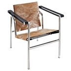 lauren modern ponyhide lounge chair in brown and white