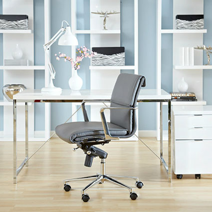 leonard low back office chair in gray - room setting