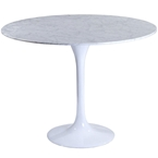 odyssey modern round marble dining table - white