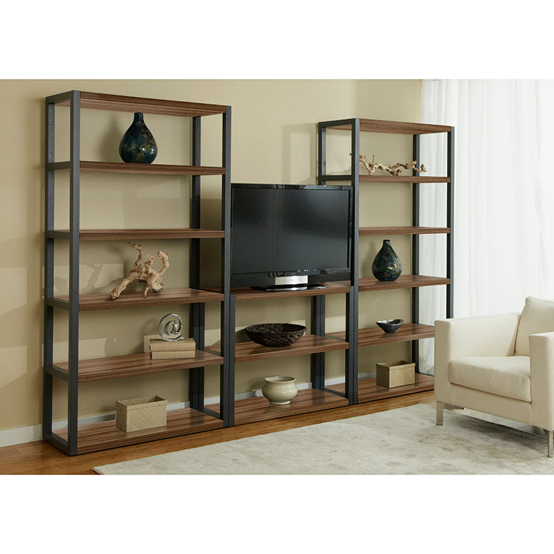 Paige Low Bookcase + Paige Bookcases in Walnut
