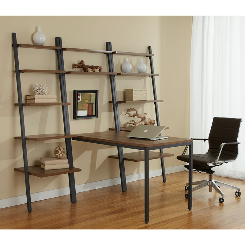 Paige Desk with Shelves + Leaning Bookcases
