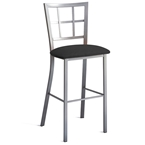 Paul Bar Stool - Platina Finish w/ Onyx Microfiber