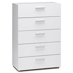 pescara 5 drawer chest in white