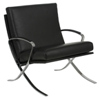 pilsen leather lounge chair in black