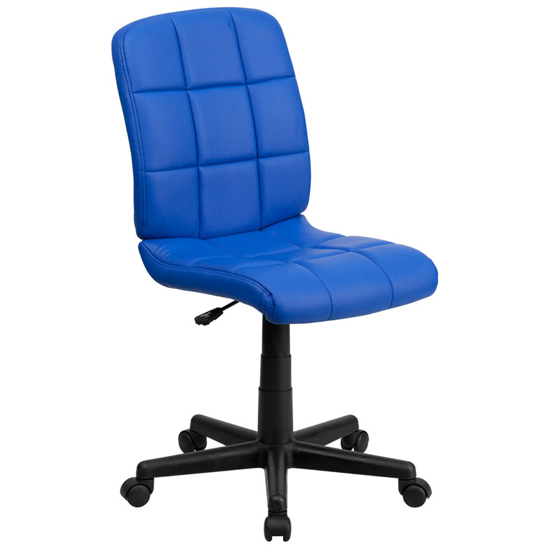 Quilted Armless Office Chair in Blue
