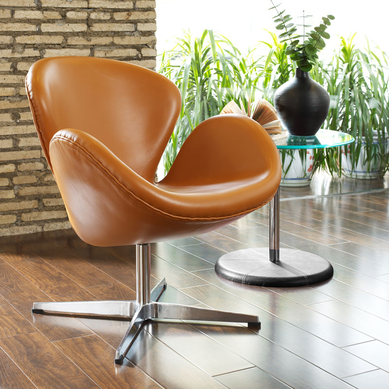 Shell Leather Lounge Chair - Terracotta