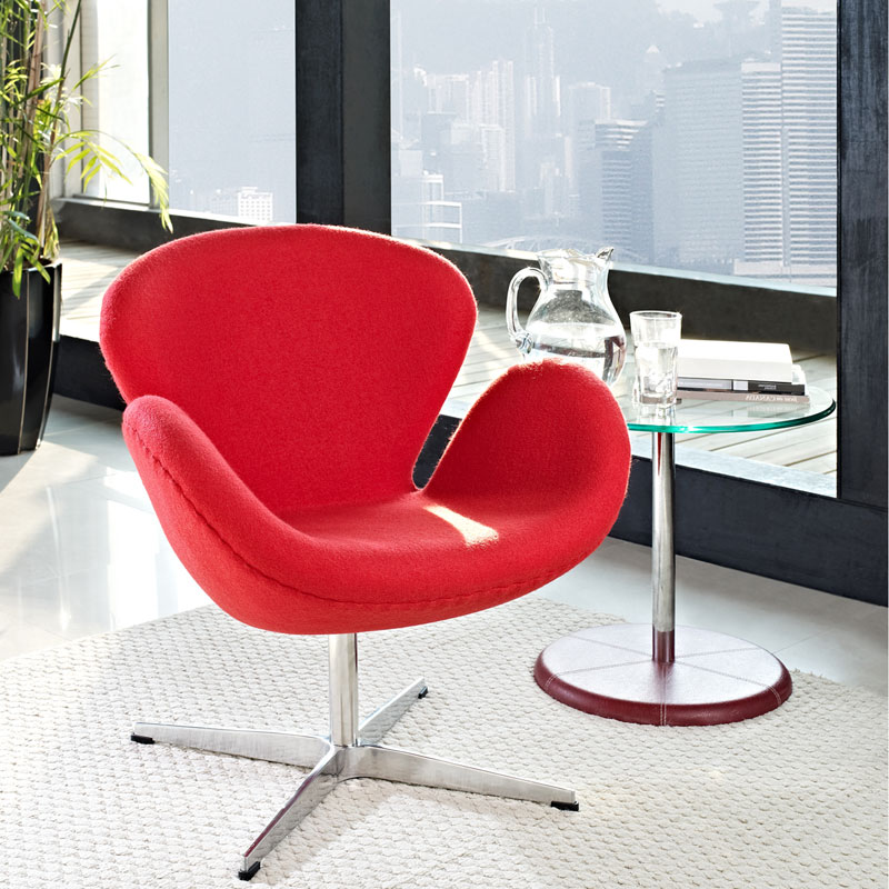 Shell Modern Classic Lounge Chair in Red